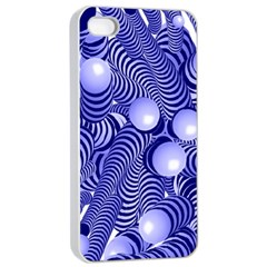 Doodle Fun Blue Apple iPhone 4/4s Seamless Case (White)