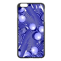Doodle Fun Blue Apple iPhone 6 Plus Black Enamel Case