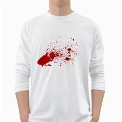 Blood Splatter 1 White Long Sleeve T-Shirts