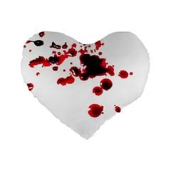 Blood Splatter 2 Standard 16  Premium Flano Heart Shape Cushions