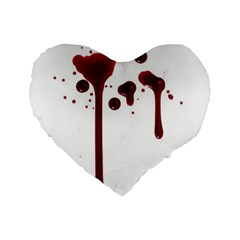 Blood Splatter 4 Standard 16  Premium Flano Heart Shape Cushions