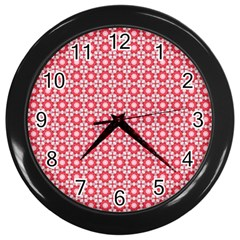 Cute Seamless Tile Pattern Gifts Wall Clocks (black)