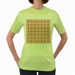 Cute Seamless Tile Pattern Gifts Women s Green T Shirt