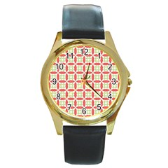 Cute Seamless Tile Pattern Gifts Round Gold Metal Watches