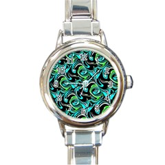 Bright Aqua, Black, And Green Design Round Italian Charm Watches