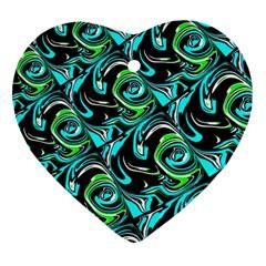 Bright Aqua, Black, And Green Design Ornament (heart)