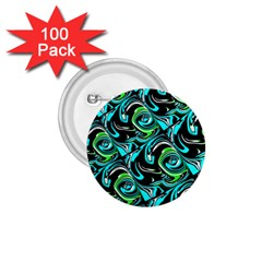 Bright Aqua, Black, and Green Design 1.75  Buttons (100 pack)