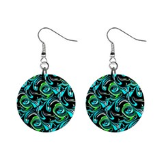 Bright Aqua, Black, and Green Design Mini Button Earrings