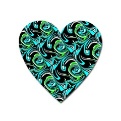 Bright Aqua, Black, and Green Design Heart Magnet