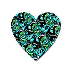 Bright Aqua, Black, And Green Design Heart Magnet