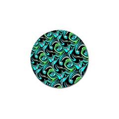 Bright Aqua, Black, and Green Design Golf Ball Marker (4 pack)