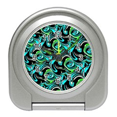 Bright Aqua, Black, and Green Design Travel Alarm Clocks