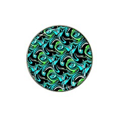 Bright Aqua, Black, And Green Design Hat Clip Ball Marker (4 Pack)