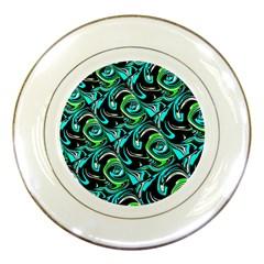 Bright Aqua, Black, And Green Design Porcelain Plates