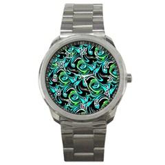 Bright Aqua, Black, And Green Design Sport Metal Watches