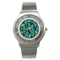 Bright Aqua, Black, and Green Design Stainless Steel Watches