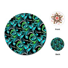 Bright Aqua, Black, and Green Design Playing Cards (Round)