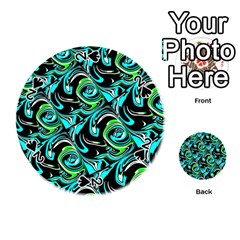 Bright Aqua, Black, and Green Design Playing Cards 54 (Round)