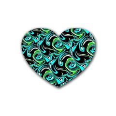 Bright Aqua, Black, And Green Design Heart Coaster (4 Pack)