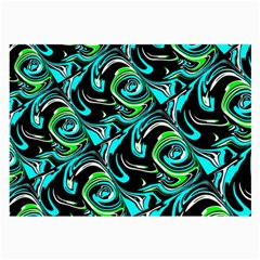 Bright Aqua, Black, And Green Design Large Glasses Cloth