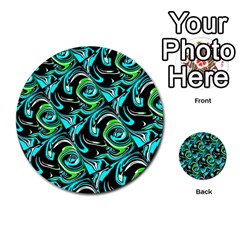 Bright Aqua, Black, And Green Design Multi Purpose Cards (round)