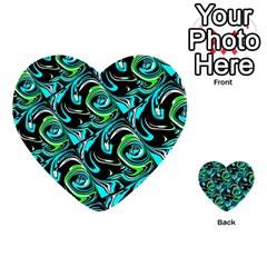 Bright Aqua, Black, and Green Design Multi-purpose Cards (Heart)