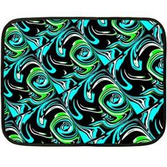Bright Aqua, Black, and Green Design Fleece Blanket (Mini)