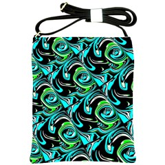 Bright Aqua, Black, and Green Design Shoulder Sling Bags