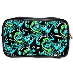 Bright Aqua, Black, And Green Design Toiletries Bags