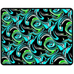 Bright Aqua, Black, and Green Design Fleece Blanket (Medium)