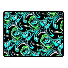 Bright Aqua, Black, And Green Design Fleece Blanket (small)