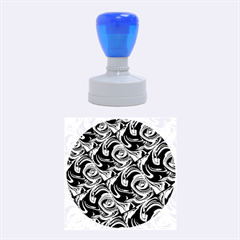 Bright Aqua, Black, and Green Design Rubber Round Stamps (Medium)
