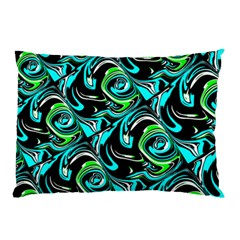 Bright Aqua, Black, and Green Design Pillow Cases (Two Sides)