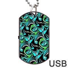 Bright Aqua, Black, And Green Design Dog Tag Usb Flash (two Sides)