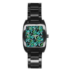 Bright Aqua, Black, And Green Design Stainless Steel Barrel Watch