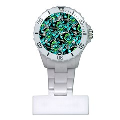Bright Aqua, Black, and Green Design Nurses Watches