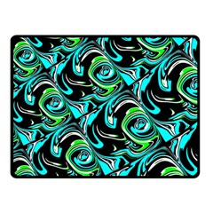 Bright Aqua, Black, And Green Design Double Sided Fleece Blanket (small)