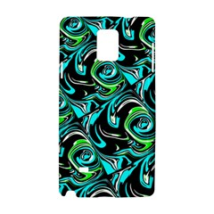 Bright Aqua, Black, And Green Design Samsung Galaxy Note 4 Hardshell Case