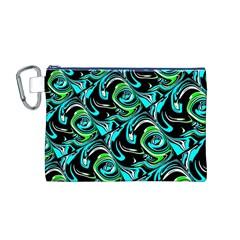 Bright Aqua, Black, and Green Design Canvas Cosmetic Bag (M)