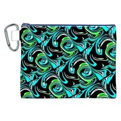 Bright Aqua, Black, And Green Design Canvas Cosmetic Bag (xxl)