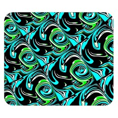 Bright Aqua, Black, And Green Design Double Sided Flano Blanket (small)