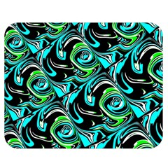 Bright Aqua, Black, and Green Design Double Sided Flano Blanket (Medium)