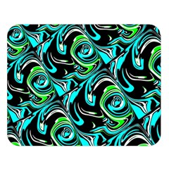 Bright Aqua, Black, and Green Design Double Sided Flano Blanket (Large)
