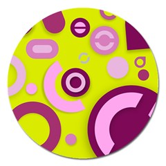 Florescent Yellow Pink Abstract  Magnet 5  (round)