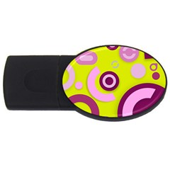 Florescent Yellow Pink Abstract  Usb Flash Drive Oval (2 Gb)