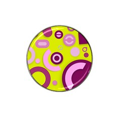 Florescent Yellow Pink Abstract  Hat Clip Ball Marker (4 Pack)
