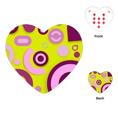 Florescent Yellow Pink Abstract  Playing Cards (Heart)