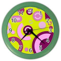 Florescent Yellow Pink Abstract  Color Wall Clocks