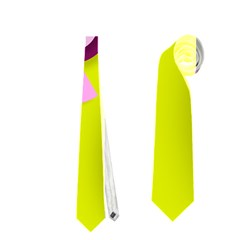 Florescent Yellow Pink Abstract  Neckties (One Side)