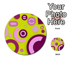 Florescent Yellow Pink Abstract  Multi Purpose Cards (round)